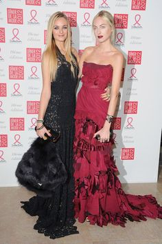 Virginie and Claire attend the Sidaction Gala Dinner 2012 at Pavillon d'Armenonville on January 26, 2012 in Paris, France.