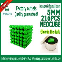 Free shipping factory outlets neocube / 216 pcs 5mm magnet balls cube at metal tin box  glow in the dark US $17.90