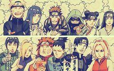 Naruto and friends. Look who Naruto's next to! Hinata-Chan! And look at Sakura all grumpy in the corner. Hehehe