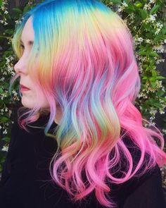 more pastel hair color ideas for you Cute Hair Colors, Pretty Hair Color, Beautiful Hair Color, Hair Dye Colors, Hair Colour, Perfect Hair, Unicorn Hair Color, Bright Hair, Colorful Hair