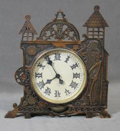 c1900 Antique Aesthetic Period Bronze Alarm Clock, Father Time & Castle