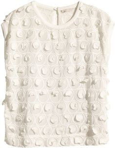 H&M Top with Embroidery - White - Ladies on shopstyle.com