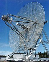 A long-range radar antenna, known as ALTAIR, used to detect and track space objects in conjunction with ABM testing at the Ronald Reagan Test Site on Kwajalein Atoll.