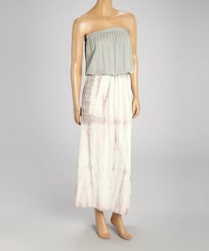 Love this Gray & Pink Tie-Dye Strapless Dress by 321 Charlie on #zulily! #zulilyfinds