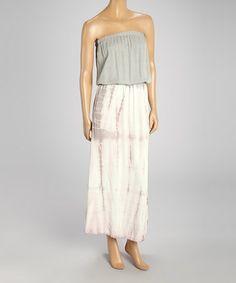 Love this Gray & Pink Tie-Dye Strapless Dress by 321 Charlie on #zulily! #zulilyfinds