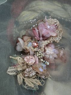 47c86cf0f20 Vintage posy brooch - ethereal bold ornate brooch , embroidered and beaded  brooch, mixed media