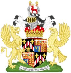 """The arms of David Armstrong-Jones, Earl of Snowdon. The arms represent his paternal Welsh ancestry and the motto reads, in Welsh, """"What God wills will be"""". Family Symbol, Family Crest, David Armstrong Jones, Kate Middleton Wedding Dress, Medieval, Princess Margaret, Crests, British History, History Facts"""