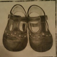 Pencil drawing of my baby shoes