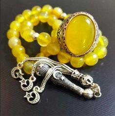 Gümüş Tasarımlı Sarı Akik Tesbih Ve Yüzük Kombin