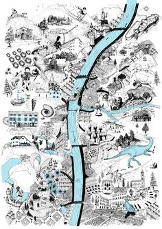 Alicia Baladan Fantasy Map Making, Mental Map, Urban Design Concept, London Poster, Joan Mitchell, Map Design, Art Graphique, City Maps, Map Art