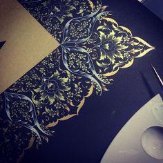 #workinprogress #artwork #mywork #dilarayarcı Islamic Motifs, Islamic Art Pattern, Persian Motifs, Pattern Art, Life Paint, Turkish Art, Illuminated Manuscript, Geometric Designs, Art Decor