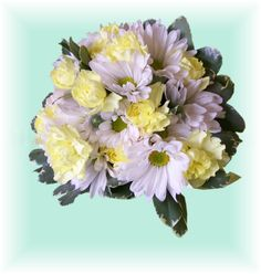 Occasions Florist  Murphy NC  Daisy and Carnation bouquet top view
