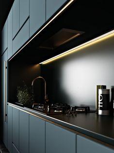 Kiev-based designer Tamara Batsmanova created 'Azure Kitchen', a series of sleek and modern interior design 3D renderings #luxurykitchenmodern