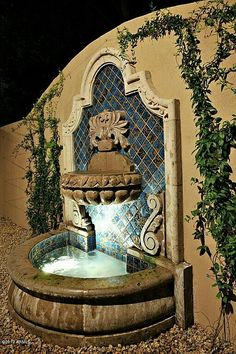 Solar Fountain Home Depot 2857780437 2857780437 Outdoor Wall Fountains, Garden Fountains, Outdoor Walls, Backyard Water Feature, Ponds Backyard, Backyard Patio, Style Hacienda, Hacienda Homes, Water Fountain Design