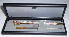 Gold toned Floral Print Angel Pen  2 ink Cartridges Gold & Black   A7 #None