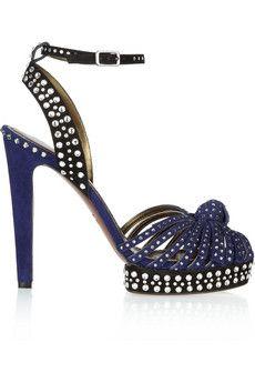 Lanvin Crystal-embellished suede sandals   THE OUTNET