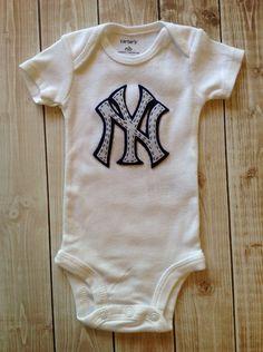 New York Yankee Double Felt Logo Onesie Bodysuit