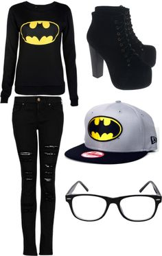 """Batman Outfit"" by cayla-monzon ❤ liked on Polyvore"