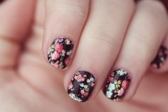 Black and Floral Vintage Inspired Nail Art