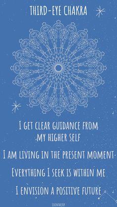 Healing Affirmations, Positive Self Affirmations, Chakra Meditation, Chakra Healing, Third Eye Quotes, Chakra Locations, Yoga, 3rd Eye Chakra, Spiritual Wisdom