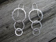 Hammered Circle Earrings Sterling Silver Triple by ESDesigns14, $24.00