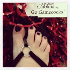 Pretty toes for college colors day #gamecocks