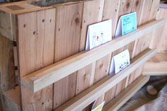A cute little DIY craft show display for cards or other narrow printed materials, or earring cards as well.