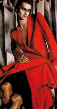 'Portrait of Mrs Bush' - 1929 - by Tamara de Lempica (Polish, - Style: Art Deco - Watsonette Art Deco Artists, Art Deco Paintings, Cubist Paintings, Art Deco Stil, Art Deco Era, Pinturas Art Deco, Tamara Lempicka, Art Nouveau, Moda Art Deco