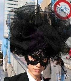 Black-Large-Cloud-Hat-Lace-veil-Halloween-Costume-Drag-Queen-Accessory
