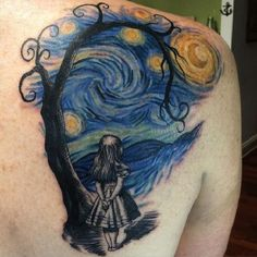 Lonely Girl in Starry Night Tattoo. This combo of starry night with the lonely girl is awesome. The girl depicts the lonliness under the deep blue sky with the stars. The artist might be depicting Van Gogh under his own artwork.