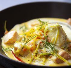 Krämig fiskgryta med saffran och chili