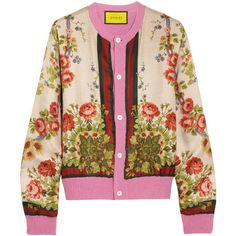 Gucci for NET-A-PORTER Floral-print silk and wool-blend cardigan ($1,935) ❤ liked on Polyvore featuring tops, cardigans, gucci, jackets, pink, flower print top, flower print cardigan, floral silk top, pink tops and floral cardigans