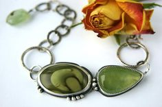 The Peaceful Pond - Imperial Jasper and Prehnite Sterling Silver Bracelet