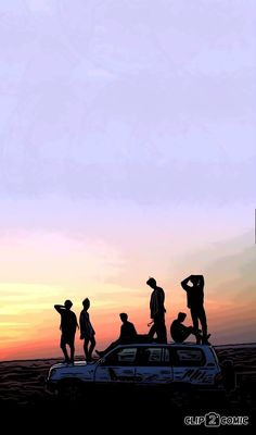 BTS under sunset  together :))