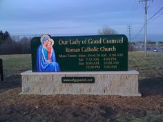 We were honored to be selected by Our Lady of Good Counsel Church in Plymouth, Michigan to design, manufacture and install their new sign.  It is a two sided sign with carved text and is located at corner of North Territorial & Beck Rd's in Plymouth Township. Plymouth Michigan, Mass Times, Church Signs, New Sign, Our Lady, Counseling, Catholic, Corner, Therapy