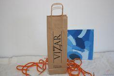 Bolsas de papel de 2 botellas impresas.
