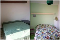 My olive green bedroom: Before&After Colourful home design ideas and shopping tips from a Barcelona-based blogger. #hogar #interiorismo