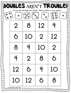 Doubles Math Facts Freebie Doubles Math Facts Freebie: I have a great Doubles Math Facts Freebie for you today! But first, let me tell you a little bit about what I've been doing. First, I packed up m