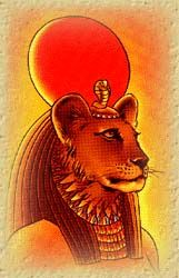 Sekhmet is depicted in so many different ways. This has a good mix of strength and light for me