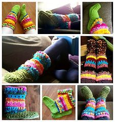 """""""Won't you take me down....to Funky Town....?"""" Awesome FREE adaptation to Mamachee's Women's Boots pattern. Funky Boots/Slippers Addendum Pattern."""
