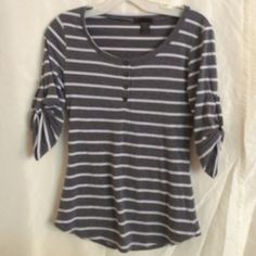 Top Grey top with white stripes-sinched sleeves Lime Blue Tops