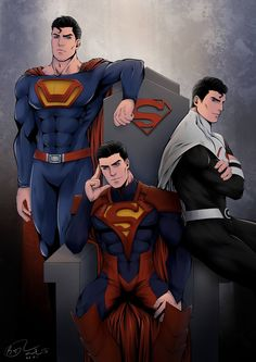 Superman - different costumes Mundo Superman, Evil Superman, Superman Artwork, Superman Man Of Steel, Superman Anime, Superman Comic, Dc Comics Heroes, Dc Comics Characters, Dc Comics Art