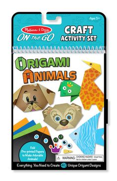 On-the-Go Crafts - Origami Animals: Making fun, foldable crafts has never been easier! Step-by-step instructions and fold marks on the patterned paper sheets guide kids through the steps to make adorable origami animals. The activity set includes everything needed to make 40 different animal faces and shapes--from kittens and puppies to giraffes, penguins, and even a traditional crane.