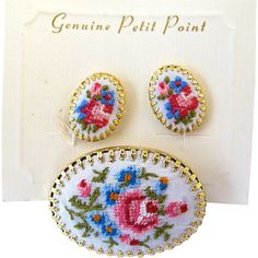 Flower Petit Point Oval Pin and Clip Earring Set
