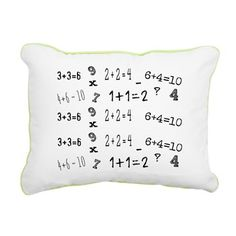 Math Rectangular Canvas Pillow -FUN Math design for all ages!  see more fun products with this design in our shops www.cafepress.com/drapestudio and society6.com/drapestudio and Organic Cotton blankets in our shop www.etsy.com/shop/drapestudio OR visit our main site www.drapestudio.com