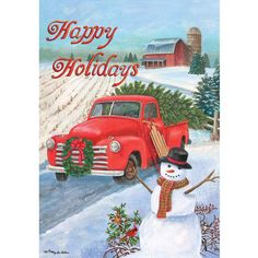 Country Christmas themed garden flag with an antique red truck hauling a freshly cut Christmas tree home to decorate for the season. The snow covered, plowed field, big red barn and friendly snowman s Christmas Farm, Christmas Red Truck, Christmas Themes, Vintage Christmas, Christmas Crafts, Christmas Decorations, Merry Christmas, Snowman Crafts, Christmas Door