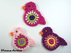 Crochet Applique Embellishments BIRD