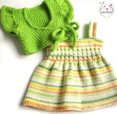 Tropical Sherbet Dress & Shrug Knitting Pattern - No pattern - just idea. Knit Baby Dress, Crochet Baby Clothes, Baby Cardigan, Baby Clothes Patterns, Baby Patterns, Clothing Patterns, Shrug Knitting Pattern, Baby Knitting Patterns, Shrug For Dresses
