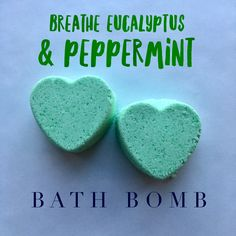 BREATHE EUCALYPTUS & PEPPERMINT BATH BOMB  $8.00 Let our hand crafted Breathe Eucalyptus  & Peppermint Bath Bombs help you catch a breath during the cold,  flu and sinus season.  Eucalyptus is well known for relieving sinus inflammation, clearing nasal congestion and easing respiratory blockages.  Peppermint has a calming effect on the body, which can relieve sore muscle and also help with nasal congestion. #essentialoil #peppermint #eucalyptus #bath #sinus #bathbomb #natural