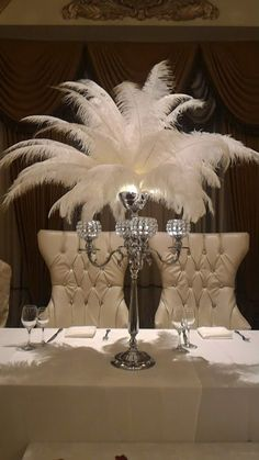 """30"""" Silver/Gold Crystal Feather Centerpiece Globe Candleholder/ Candelabra 30in Hollywood Glam Roaring 20's Bling Crystals CandleStand Pearl Centerpiece, Candle Centerpieces, Christmas Centerpieces, Wedding Centerpieces, Wedding Decorations, Ostrich Feather Centerpieces, Gatsby Themed Party, Great Gatsby Party, Gatsby Wedding"""